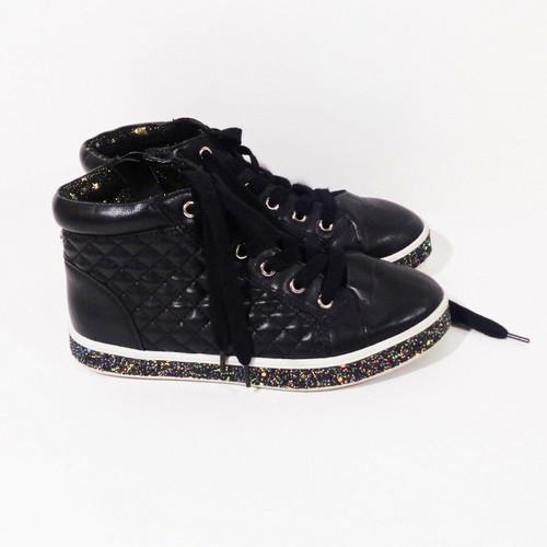 Steve Madden Tcaffire Girl's Glitter Sneaker in Black Size 4