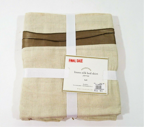 Pottery Barn Brownstone Linen with Silk Trim Bed-Skirt Size Full - NEW WITH TAGS