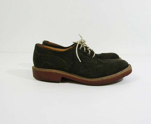 Tricker's of England Men's Olive Suede Bourton Derby Brogue Shoes Size 8.5 A
