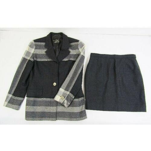Fontana Couture Women's 2 Piece Wool Skirt Suit Size 44 **Light Fraying