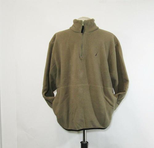Nautica Men's Brown 1/4 Zip Long Sleeve Fleece Jacket Size L **Has Dirt/Stain