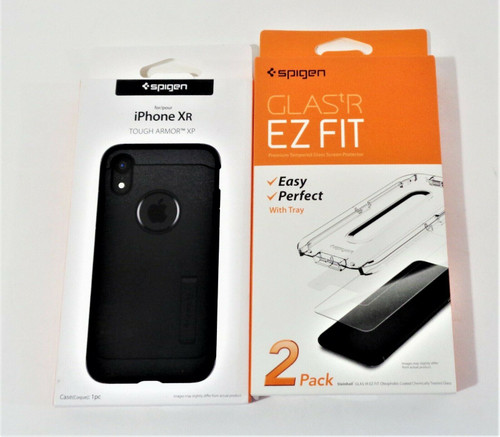 Spigen iPhone Tough Armor Case & 2 Pack Tempered Glass Screen Protectors *NEW*