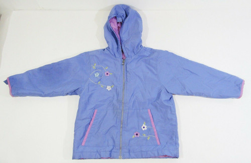 Gymboree Girls Purple Floral Hooded Jacket Size YXL/6 Yrs. *Has Dirt/Stain Marks