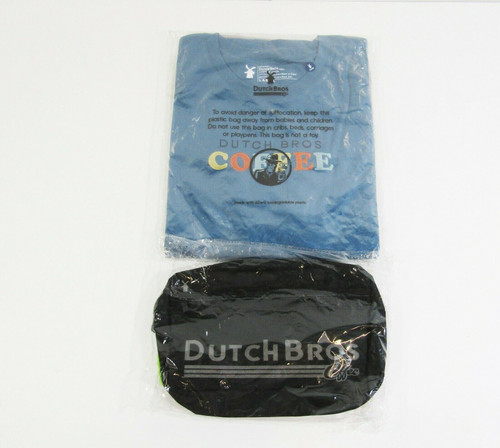 Dutch Bros Coffee Men's 2 Pack T-Shirts w/ Adjustable Hip Pack Size L *NEW*