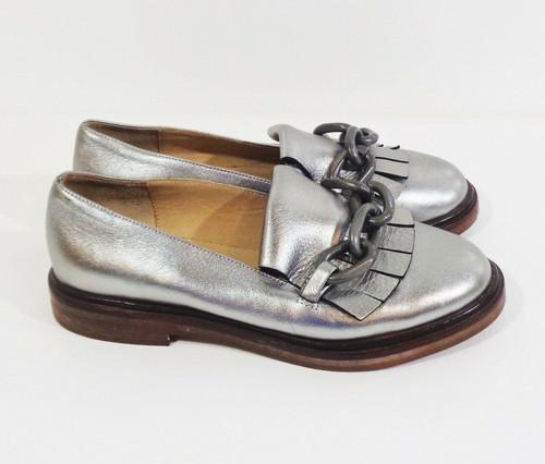 MM6 Maison Martin Margiela Women's Chain & Tassel Silver Leather Loafers Size 5