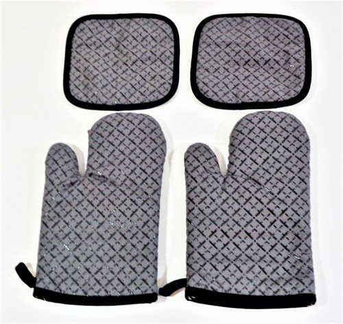 Grey Quilted Oven Mitts & Potholders 4pc Set *NEW, Open Package*