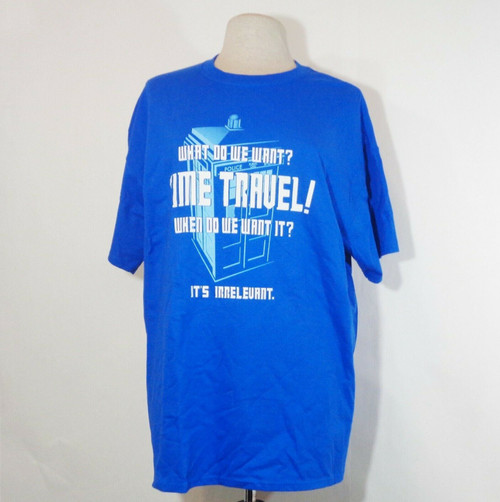 """""""What Do We Want? Time Travel"""" Dr. Who Graphic T Shirt in Blue Men's XL *NEW*"""