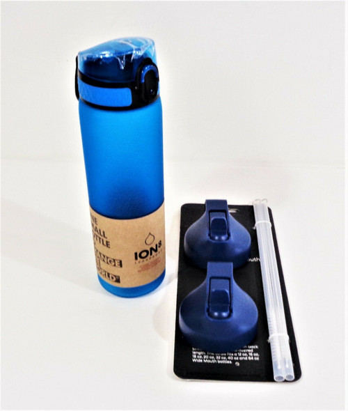 Ion8 One Touch Leak-Proof Water Bottle & 2pc Wide Mouth Lids w/ Straws