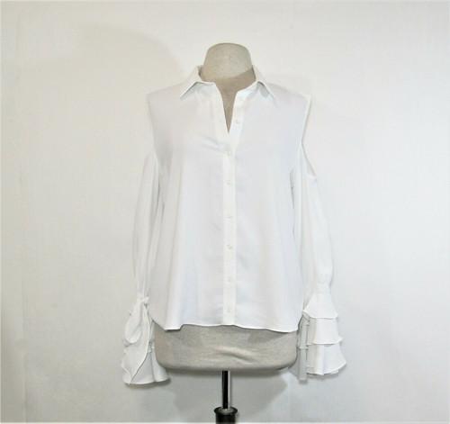 La Pateau Women's White Cut Shoulder Button Up Blouse w/ Ruffles Size 42