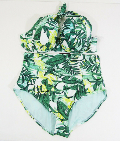 Adore Me Women's 2 Piece Tropical Swimsuit Size 2X Bottoms / 42DD Top **NWT**