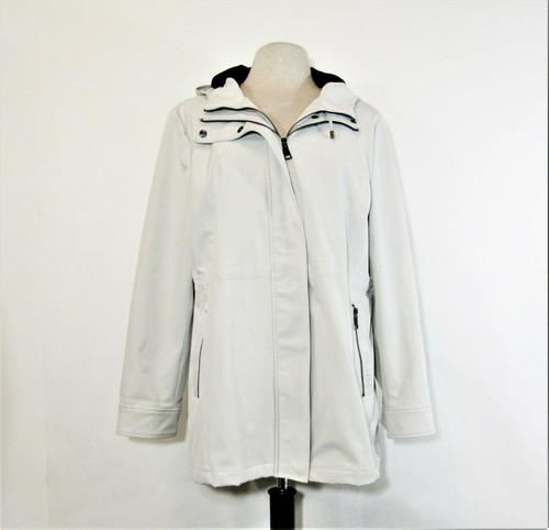 Calvin Klein Women's Off White Double Full Zip Coat w/ Adjustable Hood Size XL