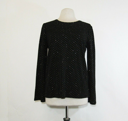 Michael Kors Women's Black & Gold Accented Long Sleeve Blouse Size L **NWT**