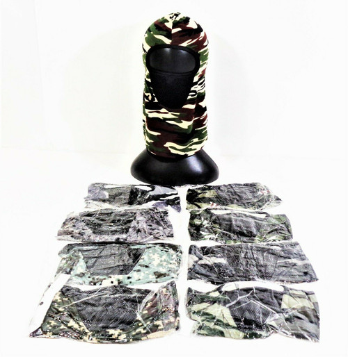 9 Piece Lot of Camouflage Gaiter Face Coverings *NEW, Open Package*