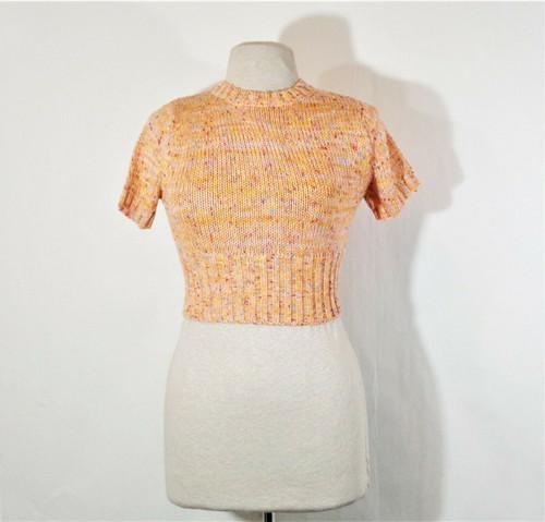 Blue Blush Crush Secret Gossip Sweater Crop Top in Orange Rainbow Size S *NEW*