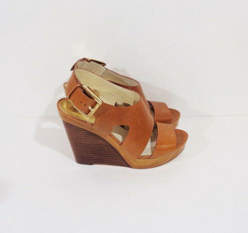 Michael Kors Brown Leather Wedge Heels Size 10M