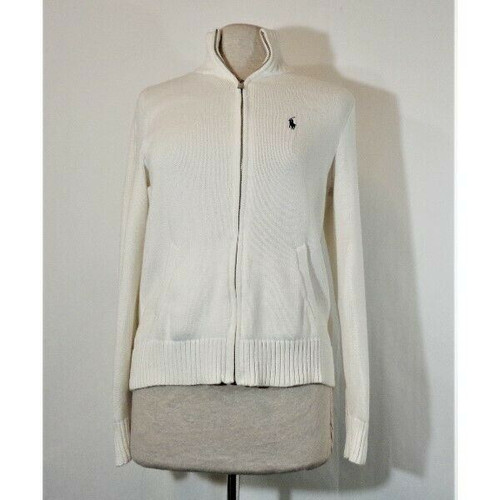 Ralph Lauren Sport Women's White Zippered Cable Knit Sweater Size L *Has Stain*