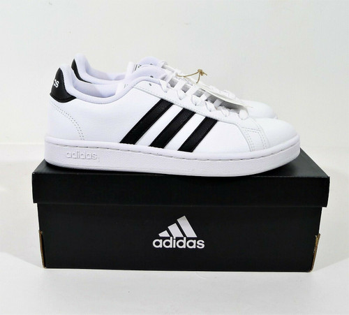 Adidas Women's White with Black Stripes Grand Court Sneaker Size 7 - NEW IN BOX