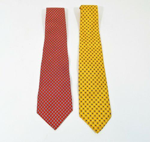 Set of 2 Ralph Lauren Silk Ties - Yellow Lauren and Red Polo