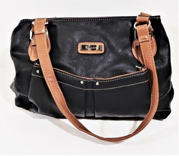 Koltov Brown & Black Leather Shoulder Bag
