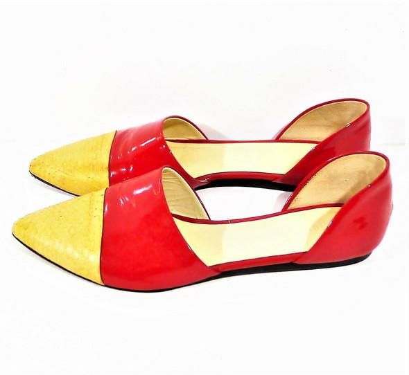 Jenni Kayne Snake Skin & Red Patent Leather D'Orsay Flats Women's SZ 6.5