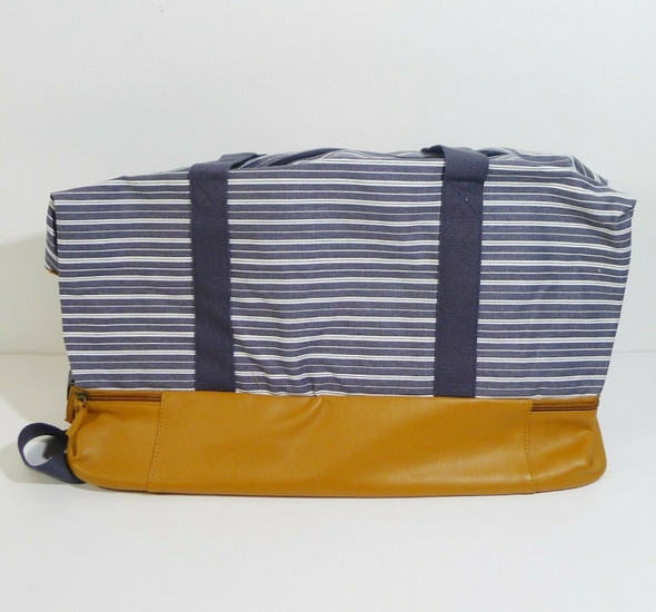 DSW Leather Bottomed Blue Striped Weekender Duffel Bag w/ Shoe Compartment *NEW*