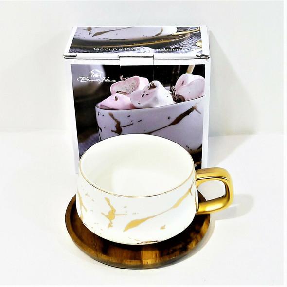 Beauty House 10 oz White Ceramic Tea Cup w/ Acacia Wooden Base *NEW, OPEN BOX*