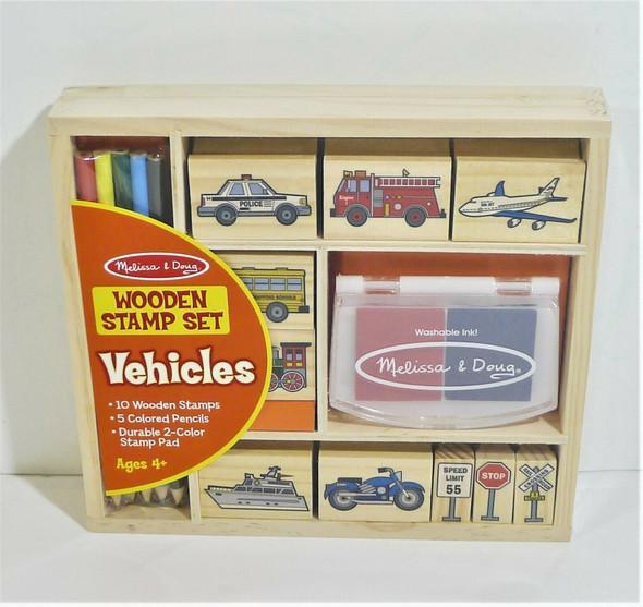 Melissa & Doug Vehicles Themed Wooden Stamp Set *NEW*