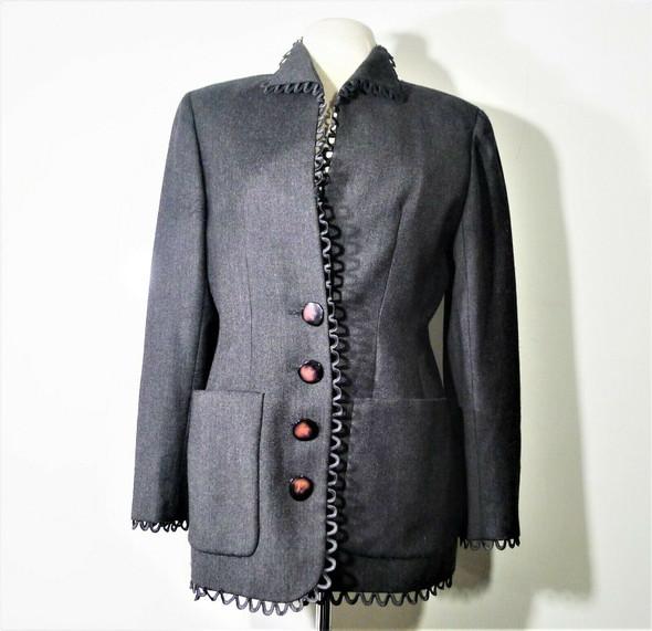Valentino Grey Vintage Blazer w/ Scalloped Piping Women's Size 12