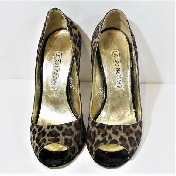 Luciano Padovan Black & Brown Leopard Print Pumps Women's Size 6