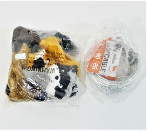 Toy Fox, Raccoon & Squirrel No Stuffing Squeak Toys & Tie Out Dog Cable *NEW*