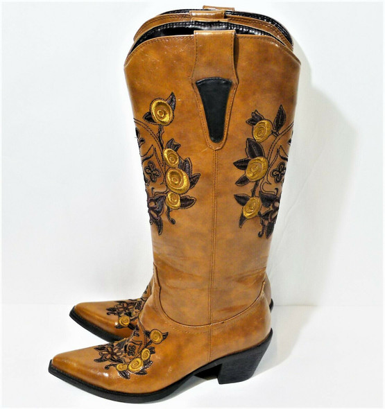 Roper Embroidered Brown Synthetic Leather Western Cowgirl Boots Women's SZ 6.5