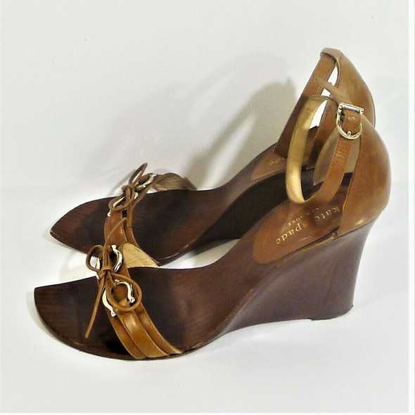 Kate Spade Brown Leather Wedge Heels Women's Size 7