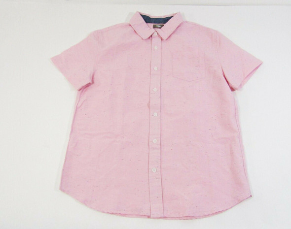 Rumi & Ryder Boys Pink Button Up Short Sleeve Shirt Size L/12-14 **NEW WITH TAGS