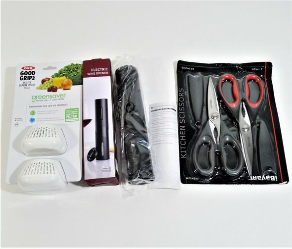 3pc Kitchen Tools Grab Bag (Kitchen Scissors, Wine Opener & Produce Saver) *NEW*
