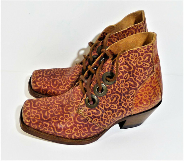 John Fluevog Tooled Red Leather Floral Booties Women's Size 6