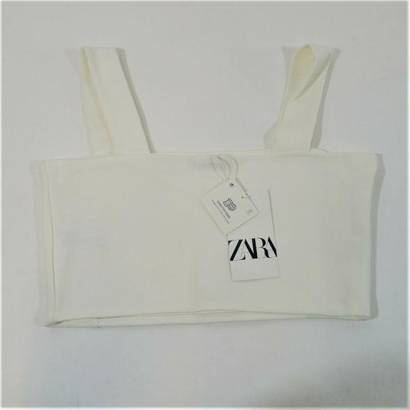 Zara Ivory Crop Top Women's Size L *NEW w/ Defect*