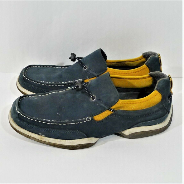 Sperry Top-sider Blue Suede & Yellow Textile Shoes Men's Size 7.5