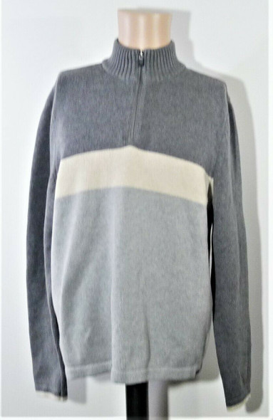 Eddie Bauer Grey & White Color Block Mock Turtleneck Pullover Sweater Men's M