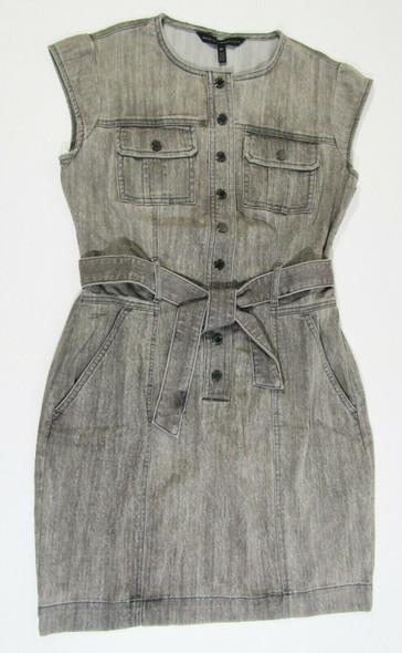 White House Black Market Women's Gray Belted Denim Dress Size 00 **NEW w/ Defect