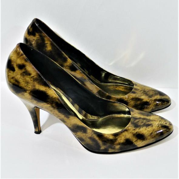 Antonio Melani Black & Brown Patent Leather Animal Print Pumps Women's Size 9