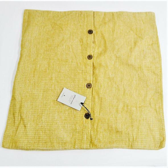 "West Elm Silk & Cotton Mono Stripe Yellow Pillow Case 24"" X 24"" *New w/ Defects*"