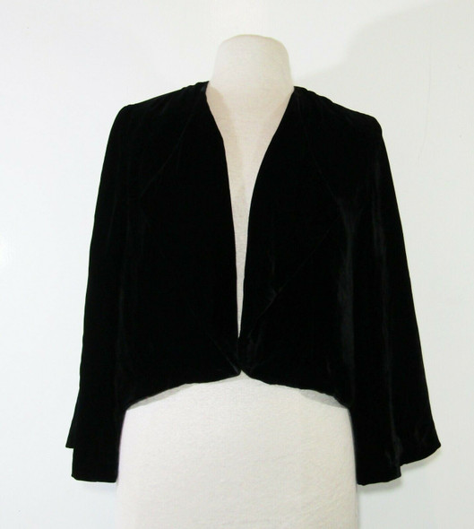 Lucky Brand Women's Black Peacock Embroidered Open Front Jacket Size XS/S