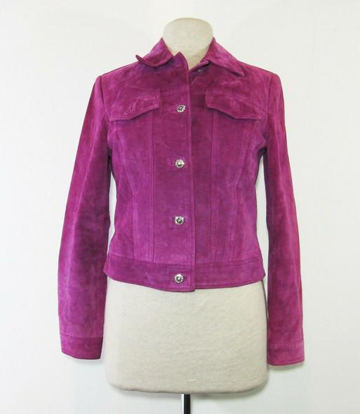 Yvonne Marie Women's Purple Suede Button Up Jacket Size 4 **Has Mark/Stain**