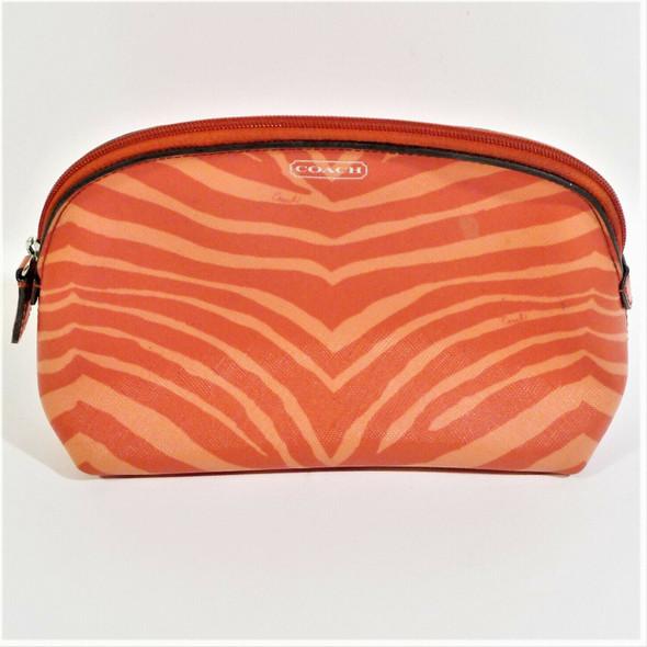 Coach Hot Orange Zebra Stripe PVC Makeup Bag