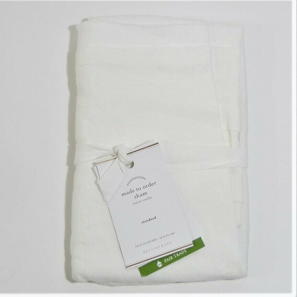 Pottery Barn Made to Order Belgian Flax Linen Standard Size Sham in White *NEW*