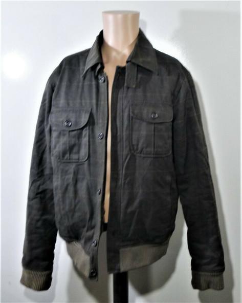 GUESS Brown & Grey Plaid Faux Fur Lined Coat Men's Size M