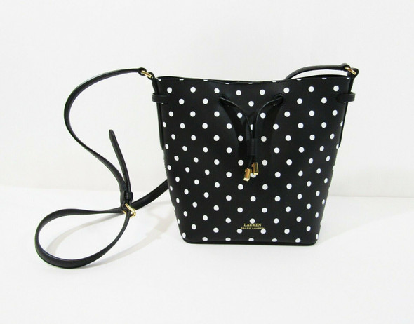 Lauren Ralph Lauren Women's Black & White Leather Polka Dot Crossbody Bucket Bag