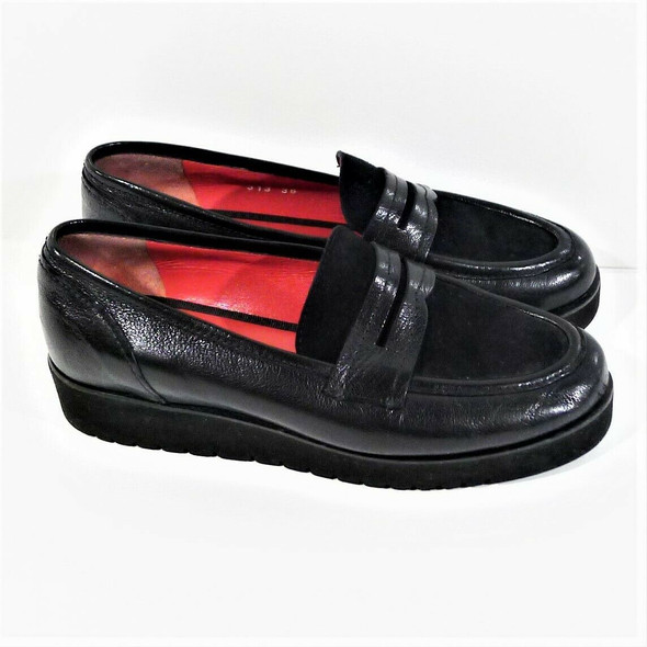 Pas Ole Rouge Suede & Leather Black Penny Loafers Women's Size 7.5