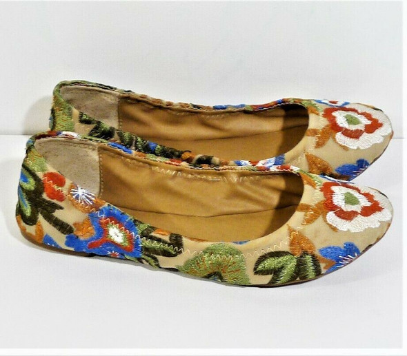 Lucky Brand Colorful Floral Embroidered Ballet Flats Women's Size 7