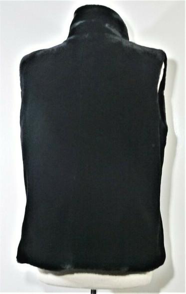 Kristen Blake Black Faux Fur Turtleneck Vest Women's Size XL